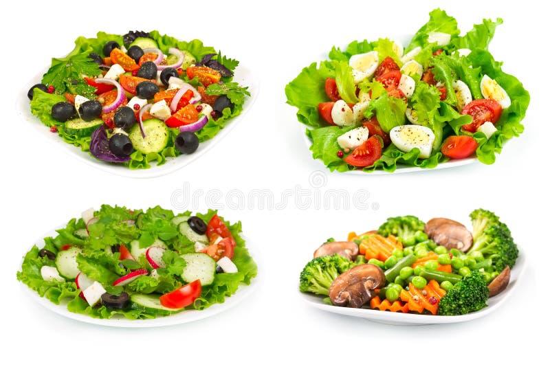 Reeks van salade met verse groenten royalty-vrije stock foto