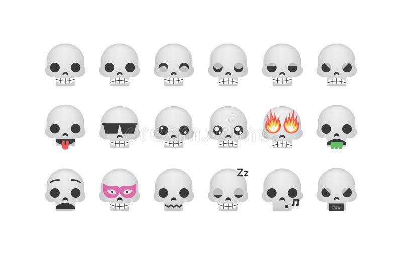 Reeks van schedel emoticon vector vector illustratie