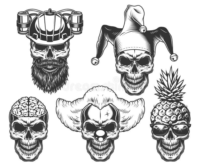 Reeks van schedel in headwear pret royalty-vrije illustratie