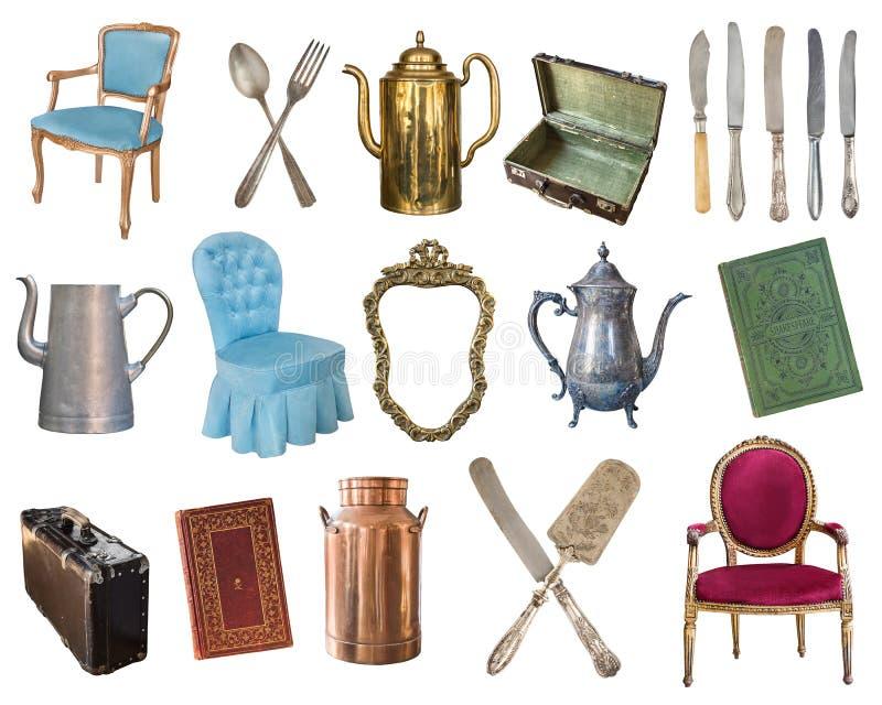 Reeks van 21 schitterende oude uitstekende punten Oude schotels, toestellen, ketels, stoelen, boeken, koffiemolen, kandelaars, om royalty-vrije illustratie