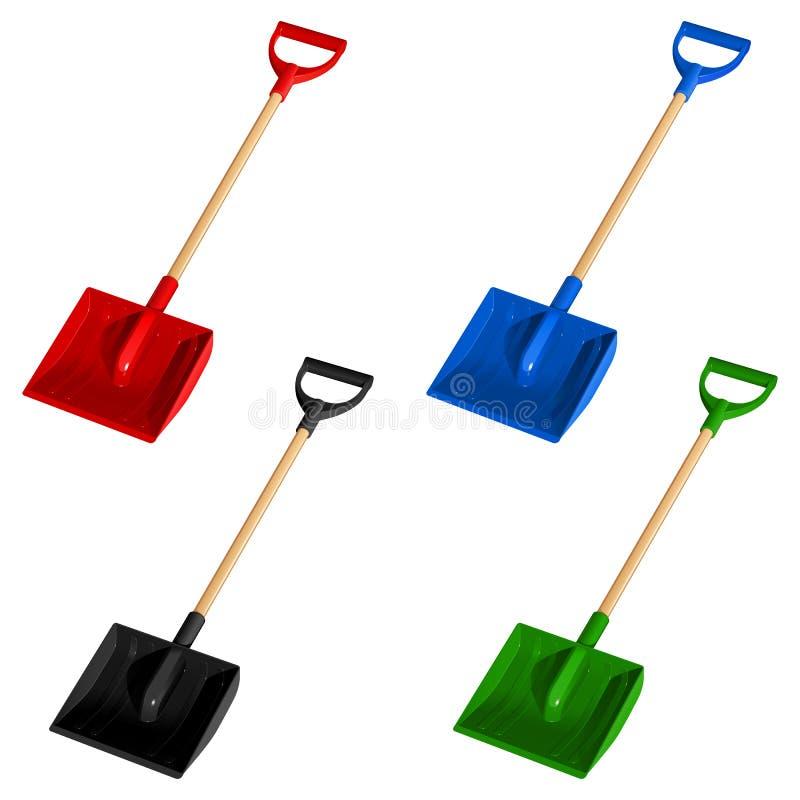 Reeks van schop van de vier de gekleurde plastic schoppensneeuw met houten handvatten, vectorillustratie stock illustratie