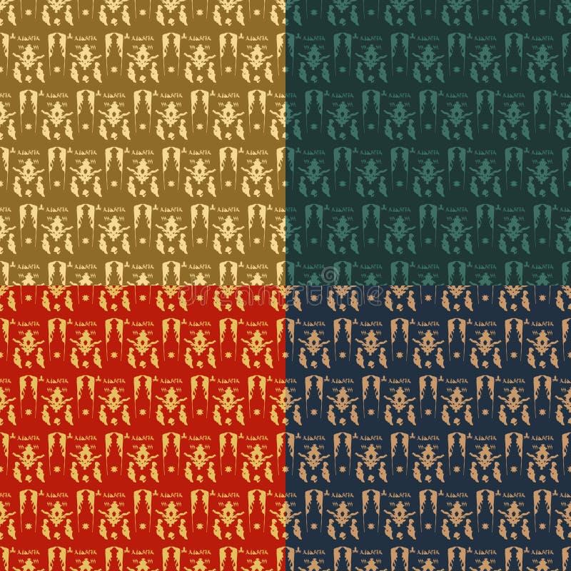 Reeks van sier naadloos patroon vier vector illustratie
