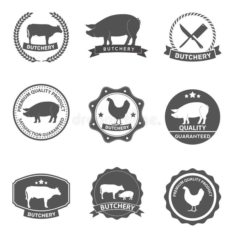 Reeks van slagerijetiketten en ontwerp royalty-vrije illustratie
