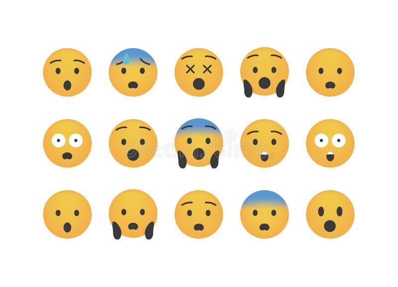 Reeks van slechte verrassing emoticon stock illustratie