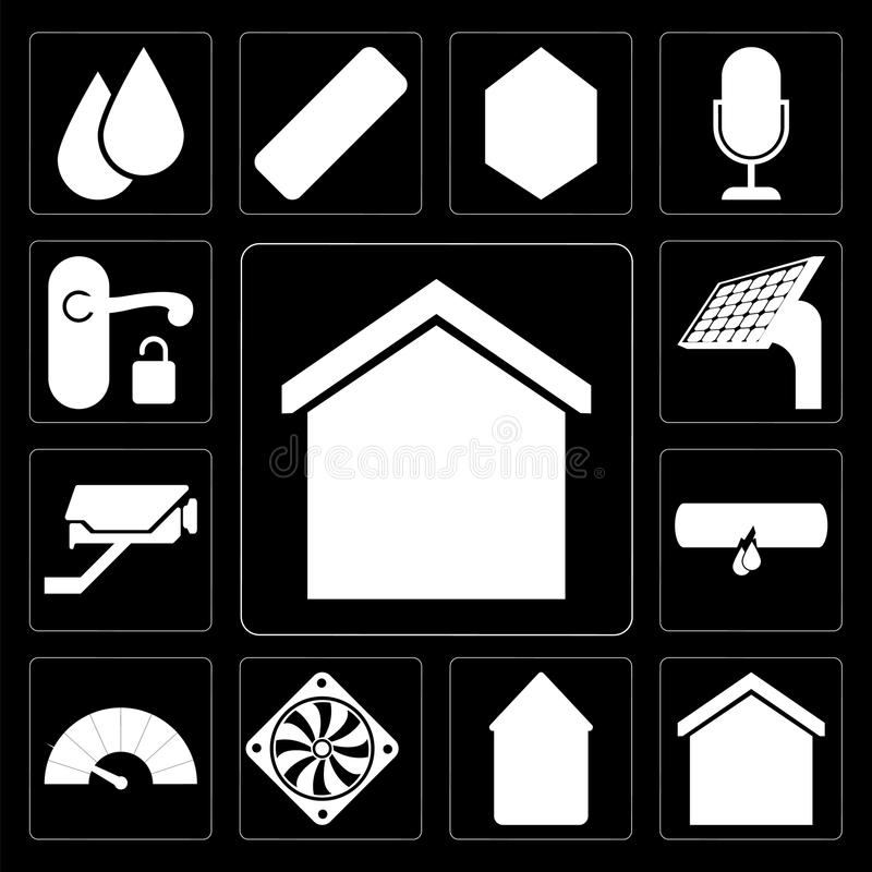 Reeks van Slim huis, Huis, Koeler, Meter, Lek, Kabeltelevisie, Comité, Handl vector illustratie