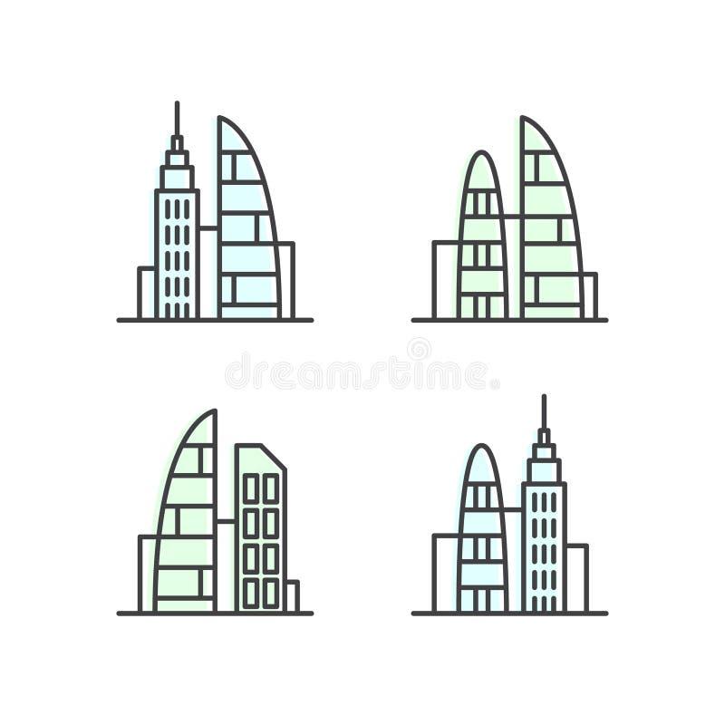 Reeks van Slimme Moderne Stad, Nieuw Eco-District, het Concept van de Wolkenkrabberstad, Één achtergrond van de paginawebsite vector illustratie