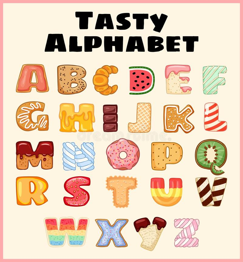 Reeks van smakelijk alfabet Heerlijk, zoet, als verglaasde donuts, chocolade, yummy, smakelijke, gevormde brieven van de alfabetd royalty-vrije illustratie