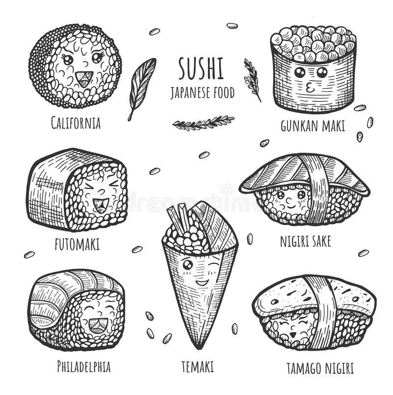 Reeks van smakelijk kawaii Japans voedsel met het van letters voorzien van geïsoleerde elementen vector illustratie