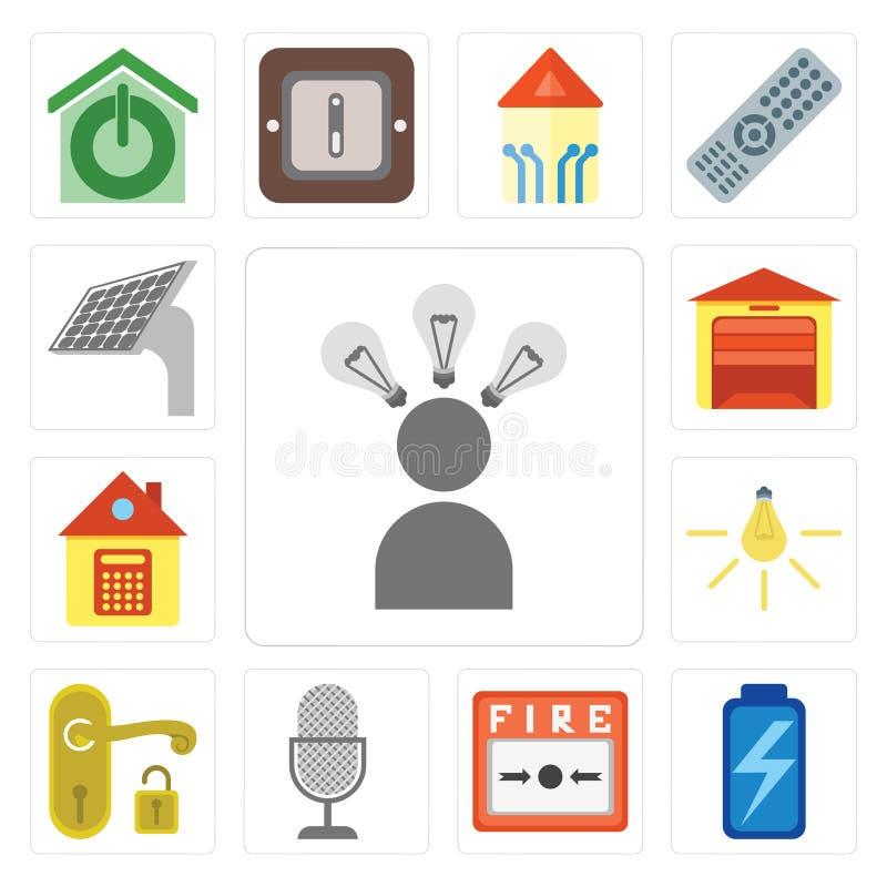Reeks van Smart, Batterij, Brandalarm, Stemcontrole, Handvat, Licht, stock illustratie