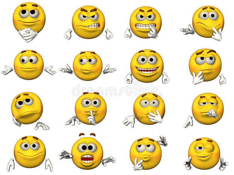 Reeks van Smiley 3D Emoticons vector illustratie