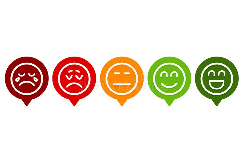 Reeks van Smiley Emotion Ranking stock illustratie