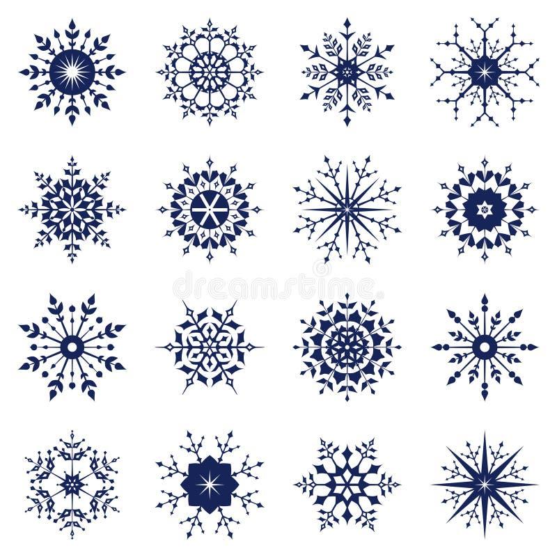 Reeks van sneeuwvlok vector illustratie