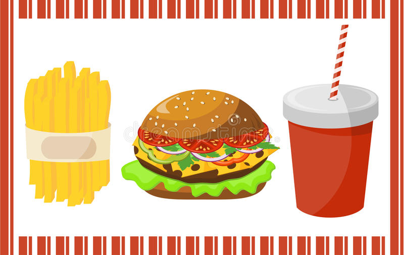 Reeks van snel voedsel stock illustratie