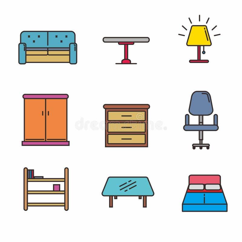 Reeks van soort meubilair vectorillustratie, meubilairpictogrammen stock illustratie