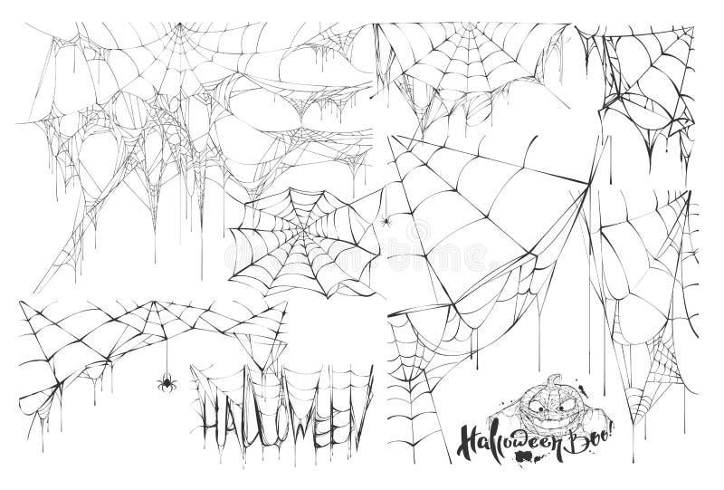 Reeks van spinneweb en tekst van vakantie Halloween vector illustratie