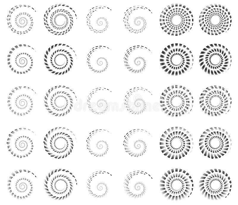 Reeks 30 van spiraal, schroefvormen, concentrische, roterende elementen, s royalty-vrije illustratie