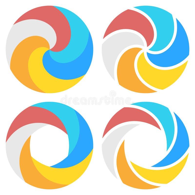 Reeks van spiraalvormig elementenmalplaatje voor ronde infographics stock illustratie