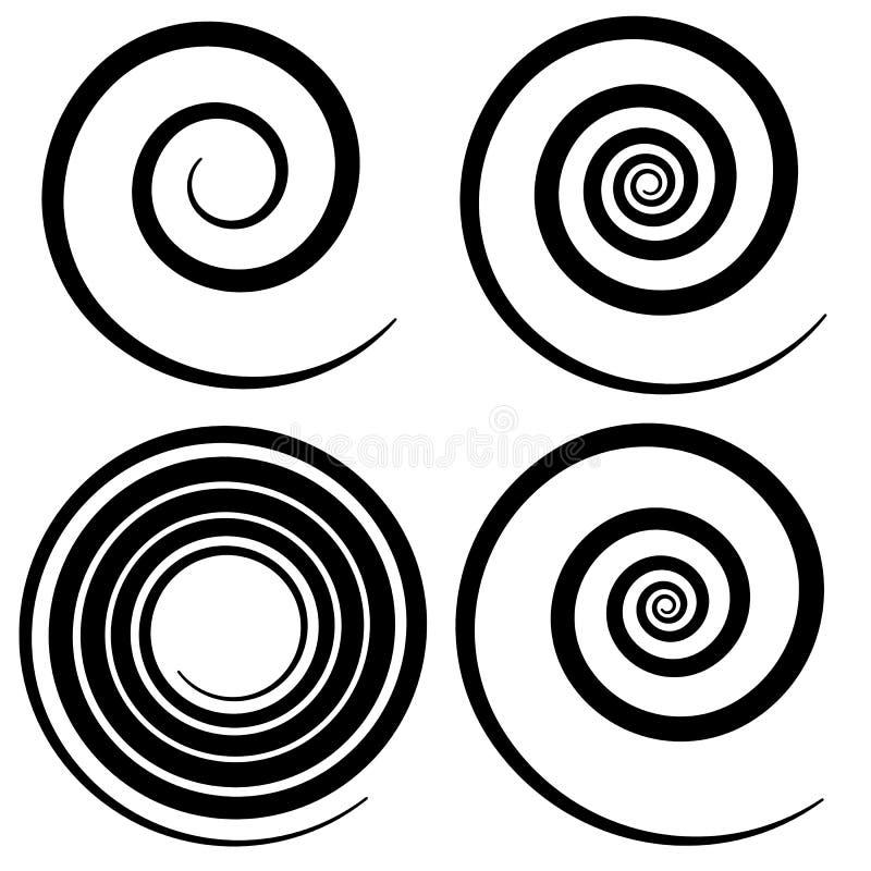 Reeks van 4 spiraalvormige vorm, spiraalvormige ontwerpelementen vector illustratie