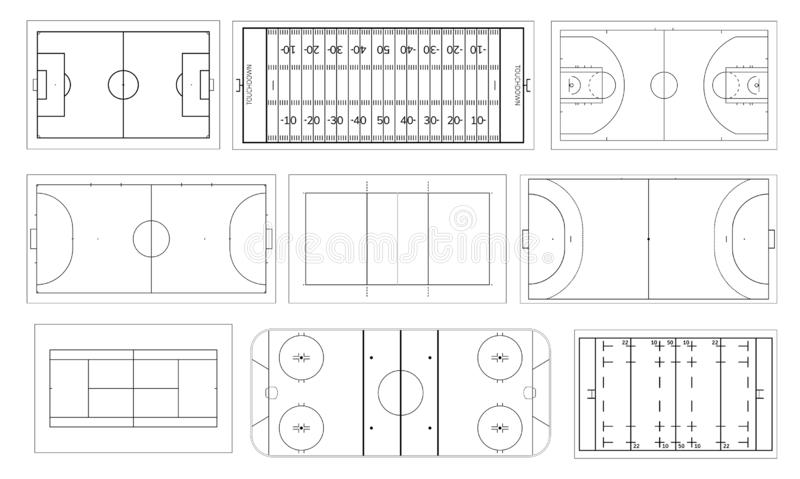 Reeks van sportgebied Handbal en basketbalhof, voetbal of voetbalgebied, ijshockeypiste Volleyball, futsal, mini stock illustratie