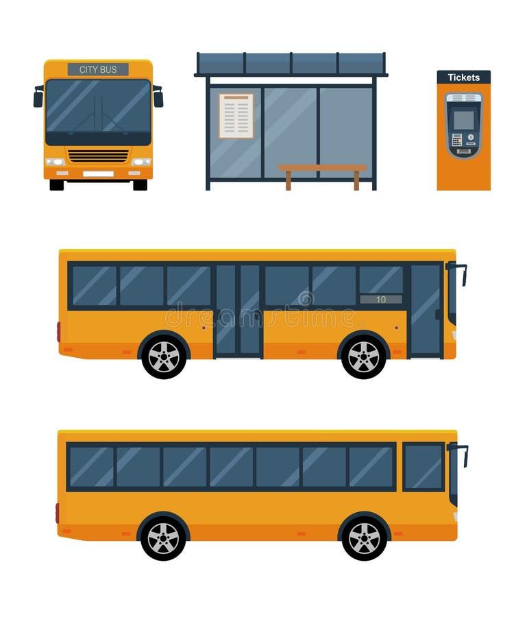 Reeks van stadsbus met voor en zijaanzicht, bushalte en kaartjesmachine royalty-vrije illustratie