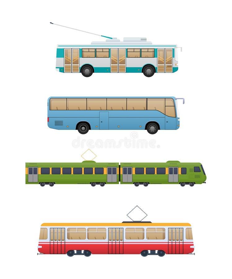 Reeks van stedelijk routevervoer Trolleybus, pendelbus, spoorwegtrein, tram royalty-vrije illustratie