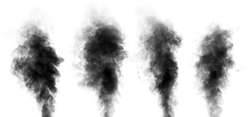 Reeks van stoom die wordt geïsoleerd als rook kijken die op wit stock foto's
