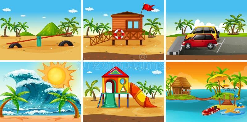 Reeks van strandscène royalty-vrije illustratie