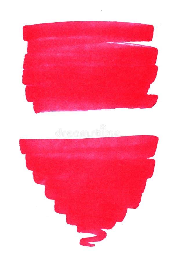 Reeks van streep van de waterverf de rode die vlek op witte achtergrond wordt geïsoleerd royalty-vrije illustratie