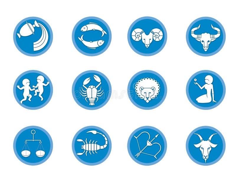 Reeks van 12 tekens van dierenriem horoscope Voorspelling van de toekomst Ge?soleerdj op witte achtergrond royalty-vrije illustratie