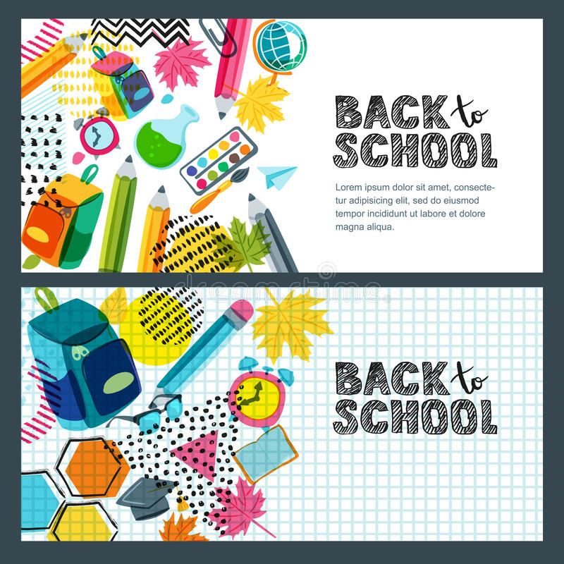Reeks van terug naar de banner van de schoolverkoop, afficheachtergrond Hand getrokken schetsbrieven, veelkleurige potloden royalty-vrije illustratie