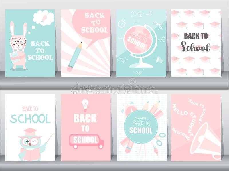 Reeks van terug naar de reeks van de Schoolkaart, schooljonge geitjes, borden, lerend, dierlijke, koele, Vectorillustratie stock illustratie
