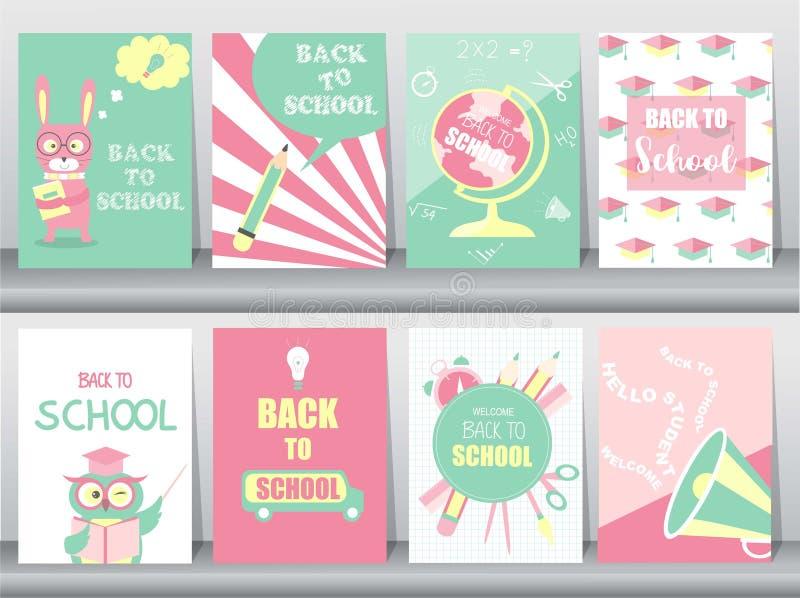 Reeks van terug naar de reeks van de Schoolkaart, schooljonge geitjes, borden, lerend, dierlijke, koele, Vectorillustratie royalty-vrije illustratie