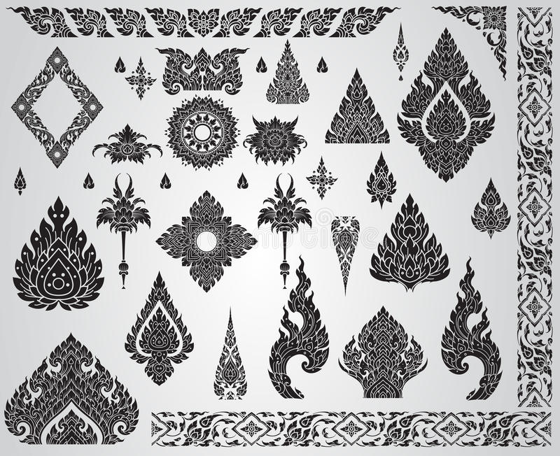 Reeks van Thais kunstelement, Decoratieve motieven Etnisch art. stock illustratie