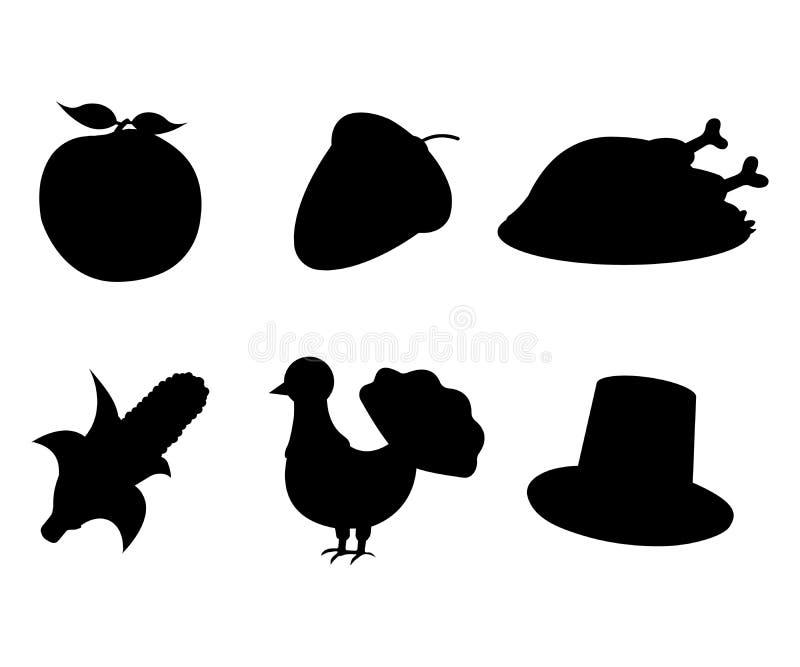 Reeks van Thanksgiving day Apple, Eikel, Turkije, Graan, Hoedenpictogram royalty-vrije illustratie