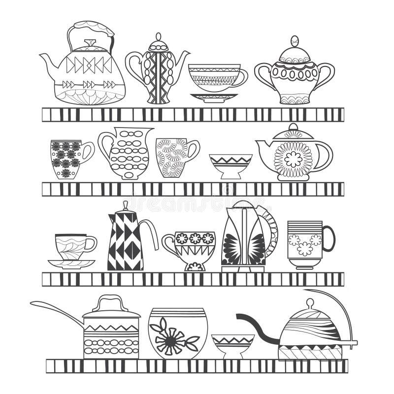 Reeks van theeinzameling met een theepot, theekop, kruiken, kruiken op royalty-vrije illustratie