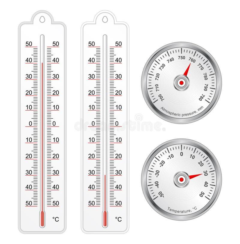Reeks van thermometers en barometer in vector royalty-vrije illustratie