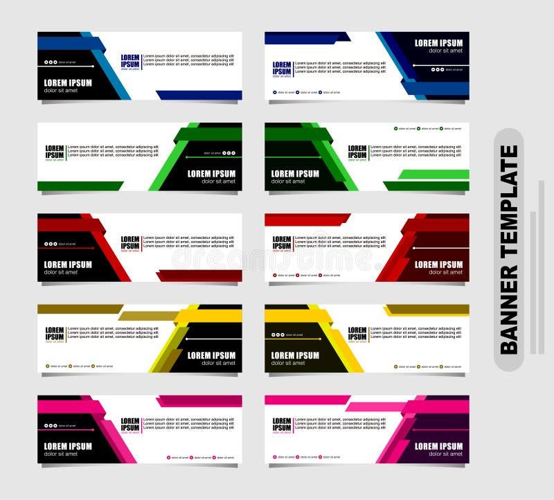 Reeks van tien abstracte vectorbanners modern malplaatjeontwerp voor website de geometrische banners van het stijlweb royalty-vrije illustratie