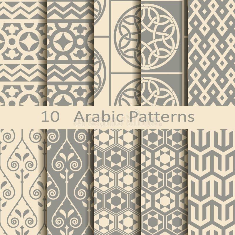 Reeks van tien Arabische patronen vector illustratie