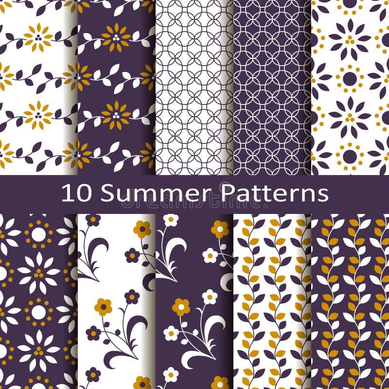 Reeks van tien de zomerpatronen vector illustratie