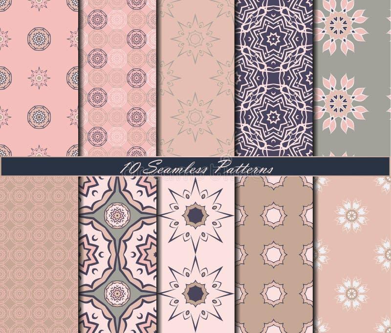 Reeks van tien uitstekende naadloze patronen met mandalas in mooie kleuren Het kan voor prestaties van het ontwerpwerk noodzakeli stock illustratie