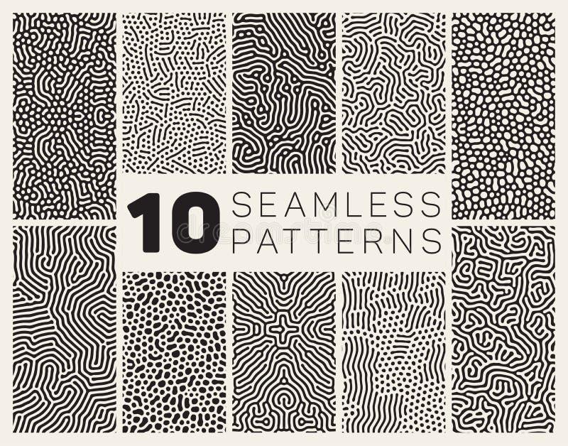 Reeks van Tien Vector Naadloos Zwart-wit Organisch Rond gemaakt Allegaartje Maze Lines Patterns stock illustratie