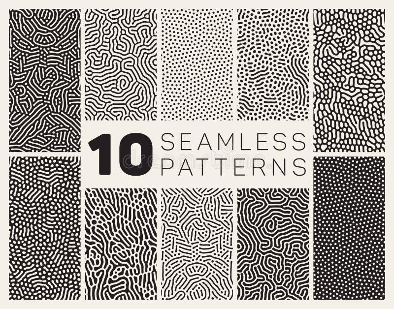 Reeks van Tien Vector Naadloos Zwart-wit Organisch Rond gemaakt Allegaartje Maze Lines Patterns royalty-vrije illustratie