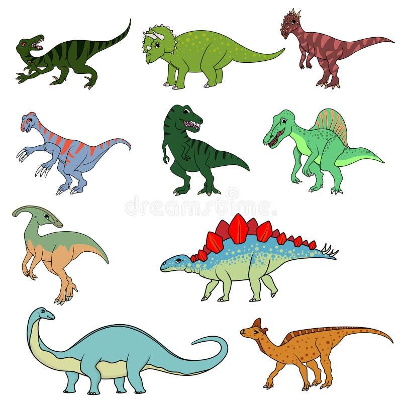 Reeks van tien verschillende dinosaurussen stock illustratie