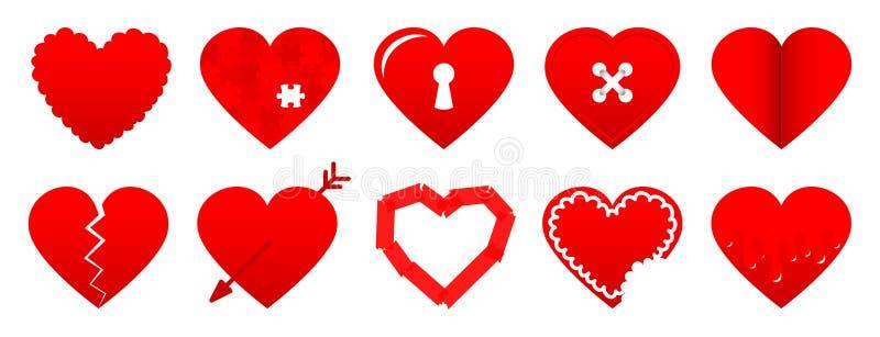 Reeks van Tien Verschillende Rode Hartpictogrammen vector illustratie