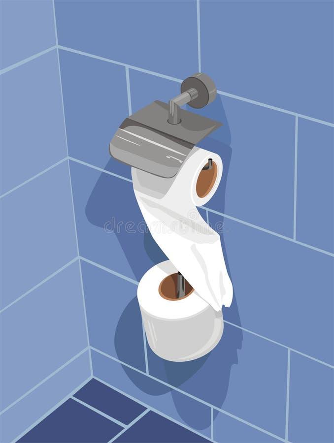 Reeks van toiletpapier op een muur van badkamers royalty-vrije illustratie