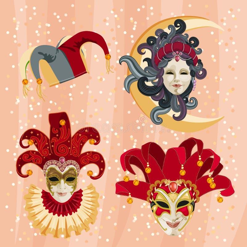 Reeks van traditioneel Carnaval-masker op een kleurrijke achtergrond met fonkelingen royalty-vrije illustratie