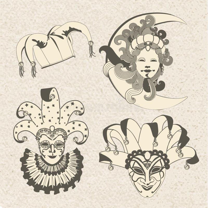 Reeks van traditioneel Carnaval-masker op een kleurrijke achtergrond met fonkelingen stock illustratie