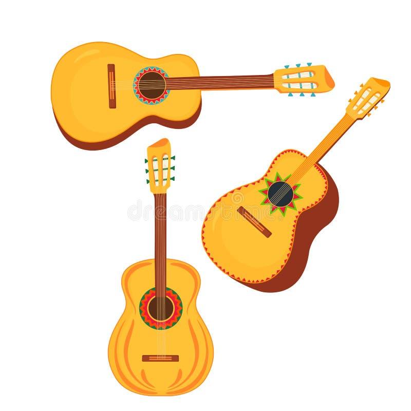 Reeks van traditionele Mexicaanse muzikale instrumentengitaar en guitarron royalty-vrije illustratie