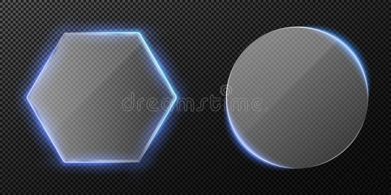 Reeks van transparant duidelijk glas die op transparante achtergrond wordt geïsoleerd Blauw neon backlight Diamant en rond glas V vector illustratie