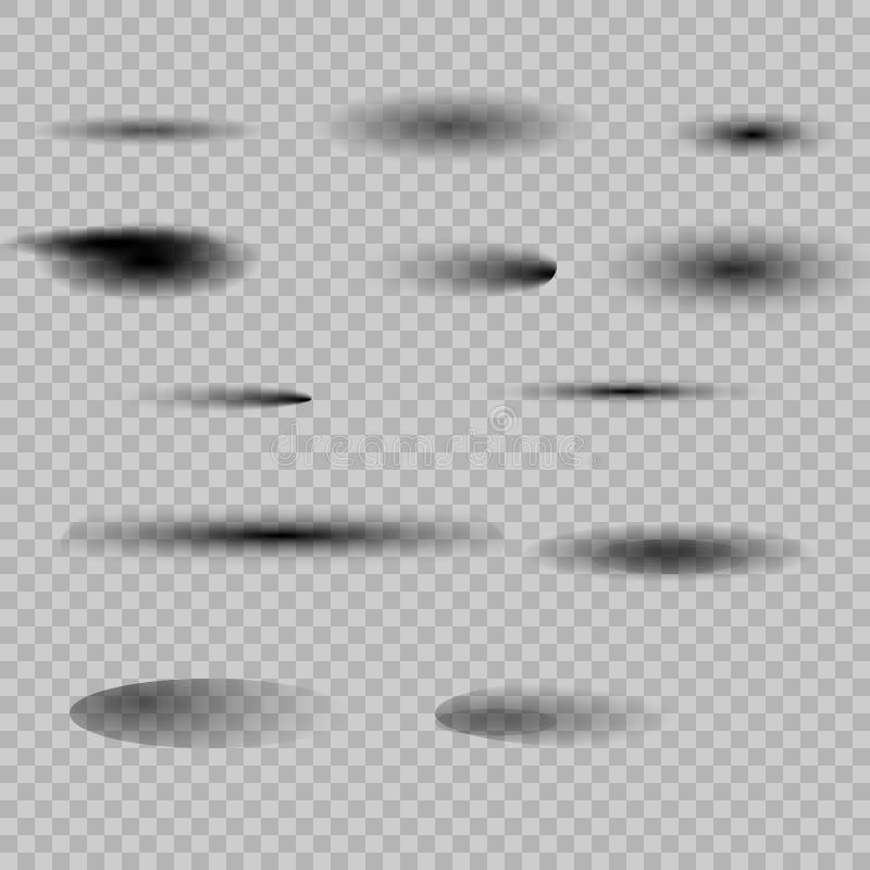Reeks van transparante ovale schaduw stock illustratie